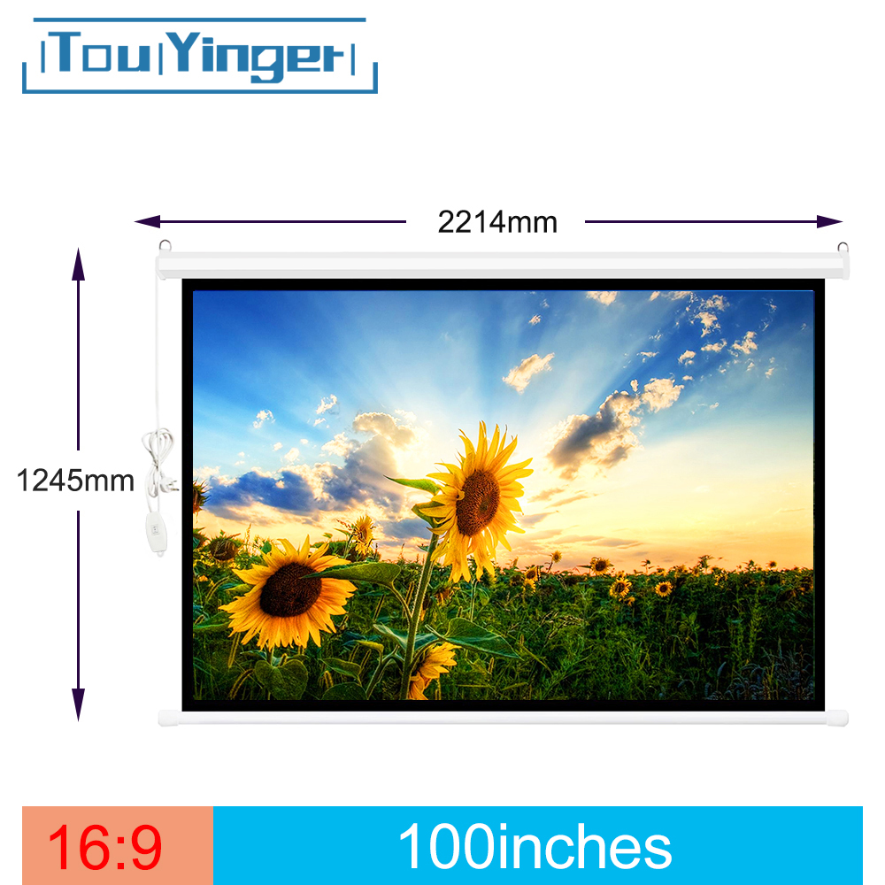 Touyinger 16:9 Electric-Screen Curtains Motorized 100inch for Projector LCD Laser LED
