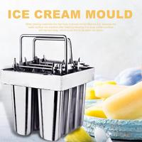 Stainless Steel DIY Ice Cream Mould Popsicle Ice Cream Make Tool Home Ice Cream Maker Stick Holder Mould With 8 Compartments