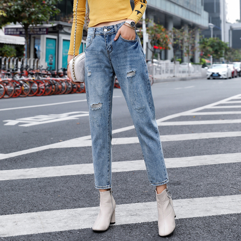 Loyalget loose jeans for women with high waist pants plus up large size woman ripped denim streetwear