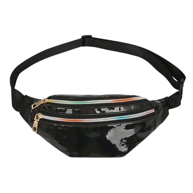 Crossbody Fanny Packs Reflective Laser Women Belt Waist Bum Shoulder Bags Black Geometric Waist Packs Laser Chest Phone Pouch