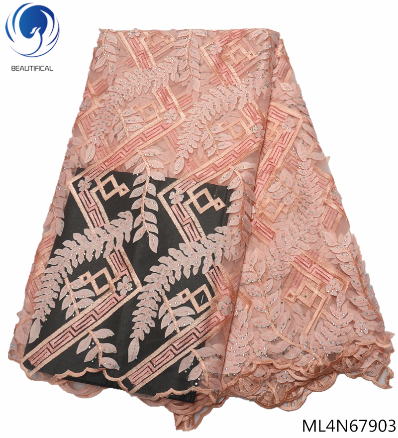 BEAUTIFICAL 5 yards/lot lace fabric french african lace fabric with stones nigerian lace fabric 2019 high quality lace ML4N679BEAUTIFICAL 5 yards/lot lace fabric french african lace fabric with stones nigerian lace fabric 2019 high quality lace ML4N679
