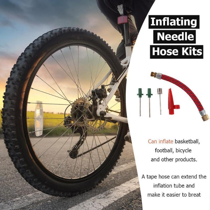 1 Aluminum Air Pump Hand Inflate Bicycle Bike Tire Basketball Soccer Ball