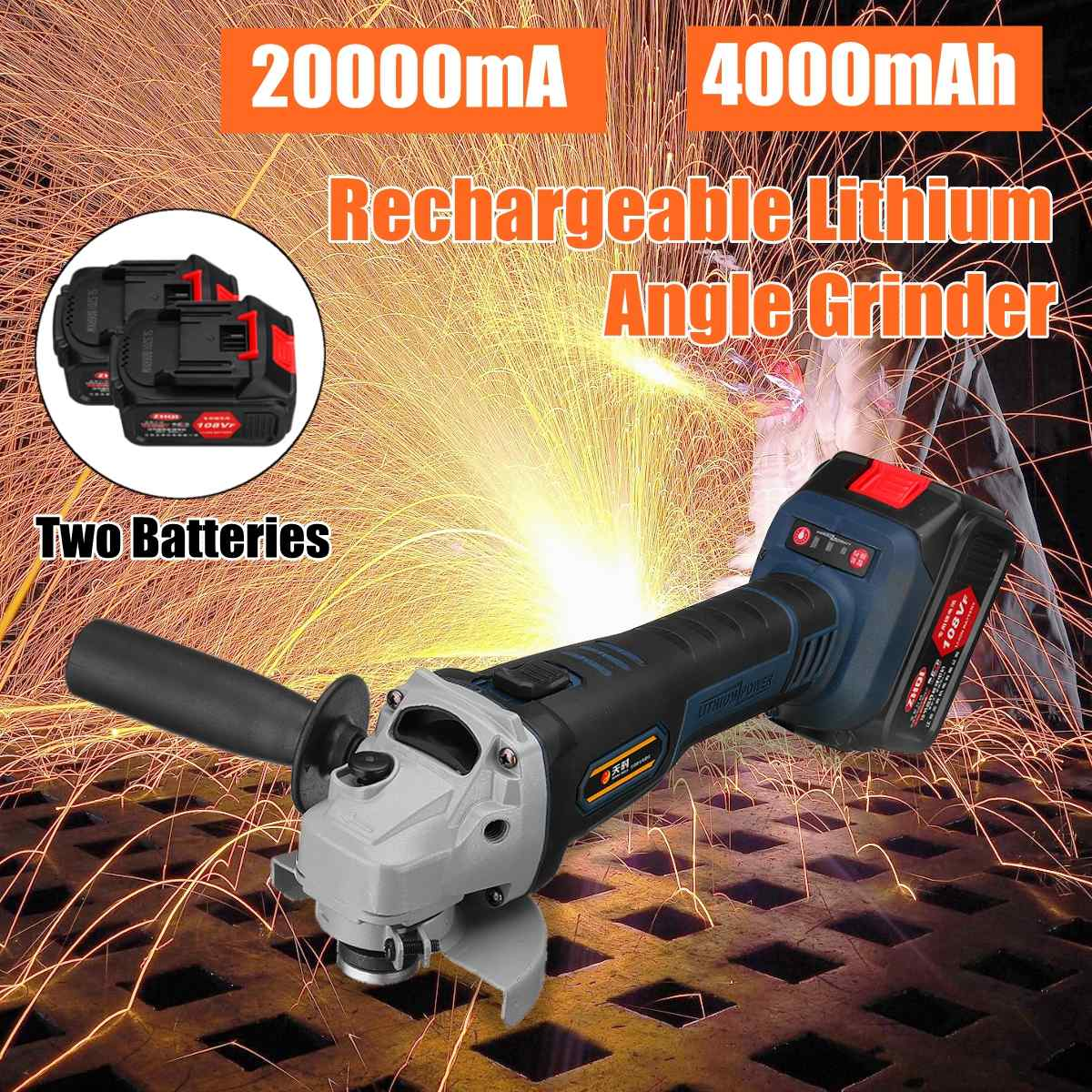 110V~220V 108VF 4000mah 20000mA Cordless Electric Angle Grinder Polisher Machine + 2pcs 18V Battery