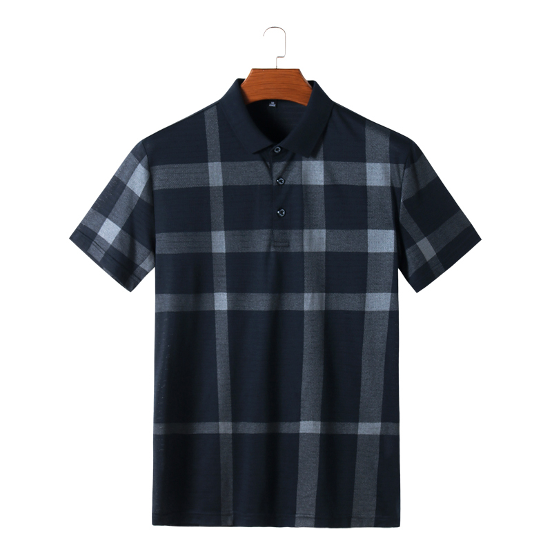 Plus 8xl 6xl 5xl hommes mode été Plaid col à revers manches courtes T-shirt bouton top t-shirts 2018 mode d'été mince hommes hauts