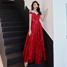 Xnxee Dresses  Padded Trailing Flutter Sleeve Long Women Gown 2019 New Chiffon Summer Style Special Occasion
