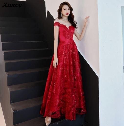 Xnxee sukienki wyściełane spływu Flutter rękawem długie kobiety suknia 2019 nowy szyfonu lato styl sukienki na specjalne okazje Xnxee w Suknie od Odzież damska na  Grupa 1