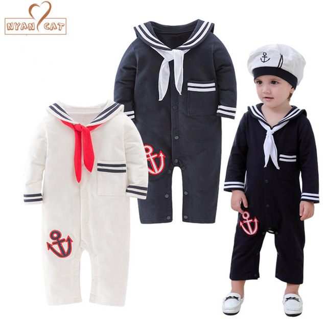 NYAN CAT Baby Sailor Costume Anchor Romper Navy Costumes For Infants Toddler White Cotton Long Sleeve Jumpsuit Halloween Costume