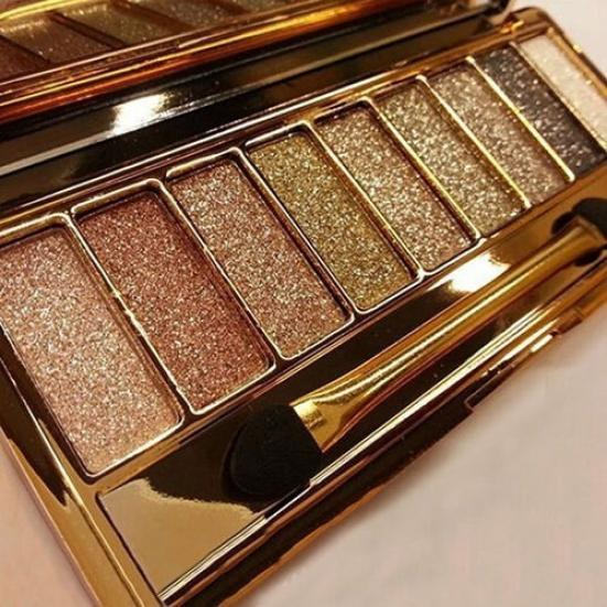 High Qual Glitter Eyeshadow With Brush Face Makeup Cosmetics Shiny Eye Shadow Palette 9 Colors Eyeshadow For Makeup Gold
