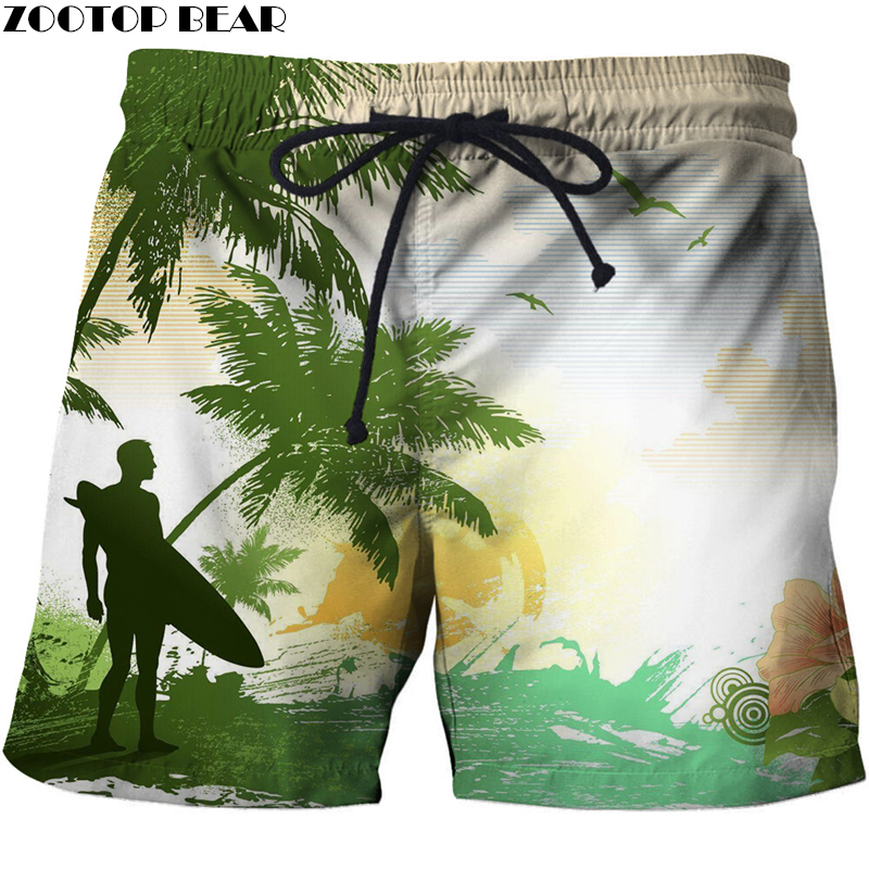 Coconut Palm Tree Men T Shorts 3d Printer Clothing Loose Elastic Waist Short Summer Beach Male Quick Dry Bodybuilding Breathab