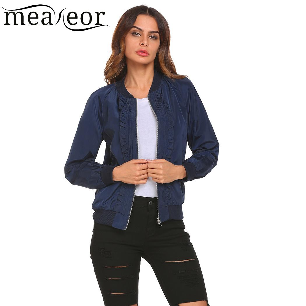 meaneor Thread Casual Stand Collar Long Sleeve Regular Fit Women Hem and Cuffs   Basic     Jacket   Outwear