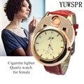 Зажигалка для сигарет женские часы USB перезаряжаемые ветрозащитные беспламенные креативные экологические женские кварцевые часы подарок ...