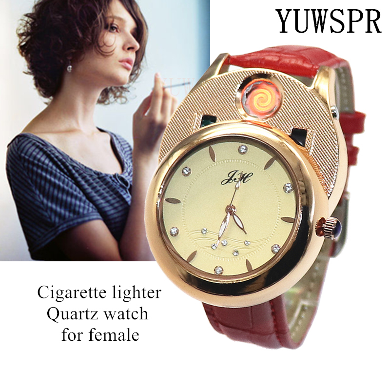 Cigarette Lighter Women Watches USB Rechargeable Windproof Flameless Creative Environmental Female Quartz Watch Gift JH366
