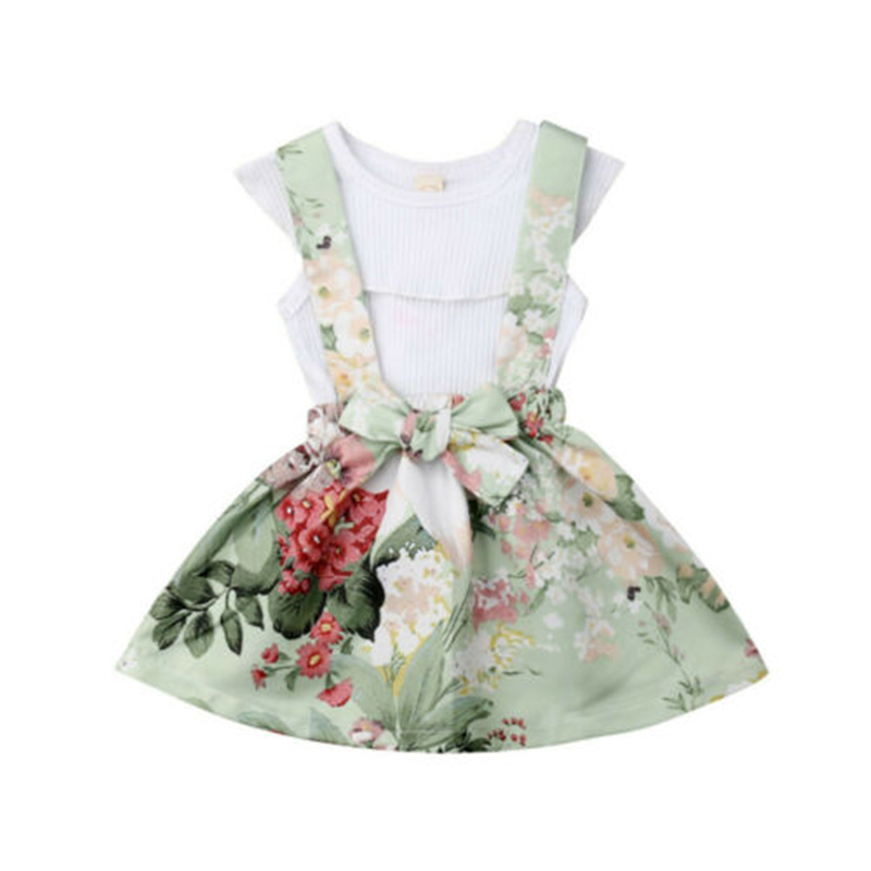 Toddler Kids Baby Girls Tops T-Shirt Suspender Skirt Dress 2Pcs Outfits New Baby Girl Clothes Falbala Top Flower Suspender SkirtToddler Kids Baby Girls Tops T-Shirt Suspender Skirt Dress 2Pcs Outfits New Baby Girl Clothes Falbala Top Flower Suspender Skirt