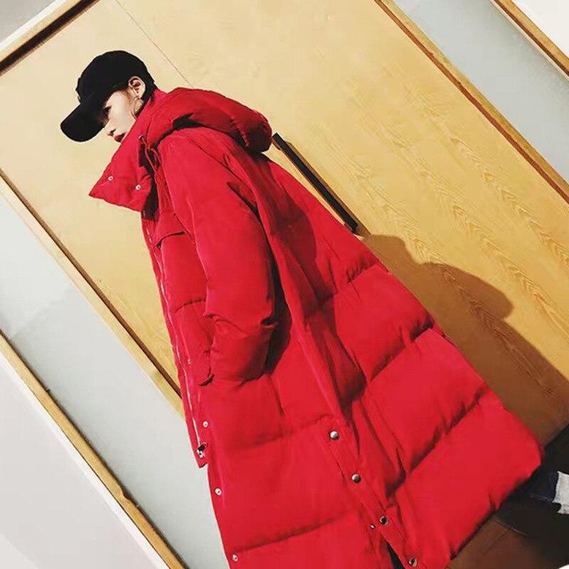 Зимняя длинная куртка для женщин с высоким воротником и капюшоном, большой карман, Толстая теплая Женская парка, Дамское пальто, большие раз... - 3