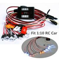 12 шт. светодио дный RC автомобилей Грузовик 1/10 светодио дный комплект освещения тормоза фар + + сигнала Fit 2,4 ГГц стр./мин FM дистанционного Упра