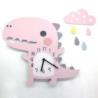 3D настенные часы с животными динозавром дизайн украшения для дома спальни винтажные домашние настенные изображения стена часы для детской ...