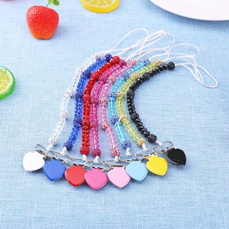 Newborn Baby Nipple Chain Pacifier Clip Chain Newborn Infant Love Crystal Nipple Soother Holder Necklace Cute Cartoon Design