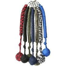 Портативный Открытый Самообороны выживания висящий узел мяч ручного плетения зонтик веревка тело самообороны мяч брелок кулон