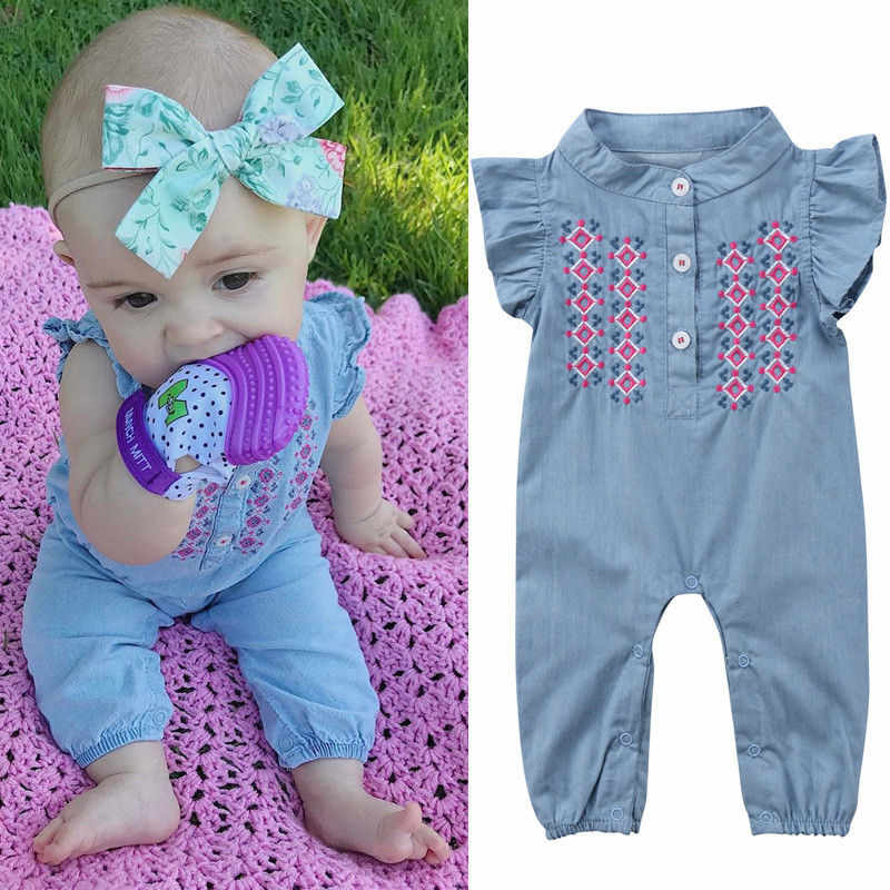 2018 Infant Newborn Baby Girl Sunsuit Playsuit Jumpsuit Bodysuit Outfit Clothes Casual plain Outfits Infantil Clothing costume
