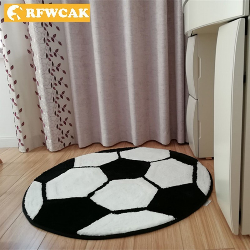 RFWCAKPolyester Anti-slip Round Ball Carpets For Living Room Bedroom Mat Computer Chair Rug Football Basketball Carpet Kids Room
