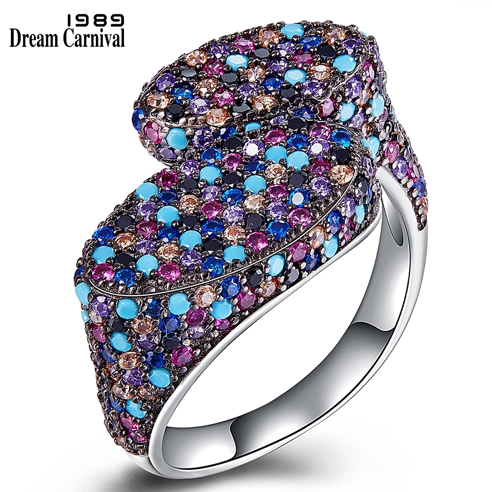 DreamCarnival 1989 Hot Recommend Oval Special Design Party Rings for Women Micro Zirconia Pave Silver Ring
