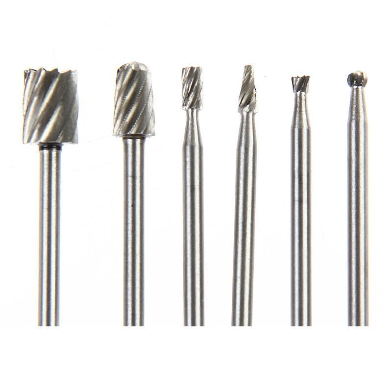 6 pièces Dremel outils rotatifs HSS Mini jeu de forets routeur de routage de coupe fraises de meulage pour la sculpture sur bois outils de coupe