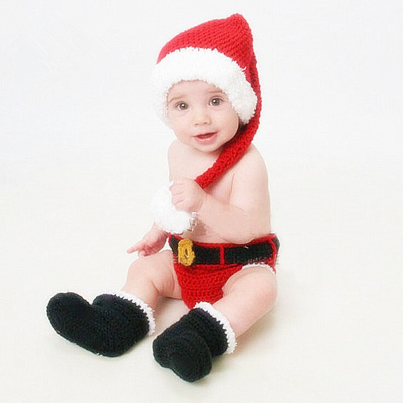 Newborn Photography Props Baby Christmas Clothing Knitted Crochet Santa Hats+Pants+Shoes Set Baby Photo Props Infant Accessories