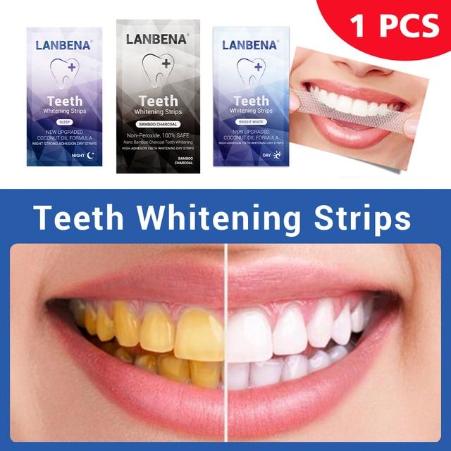 Lanbena Teeth Whitening Strip 1pcs Teeth Veneers White Strip Removes Plaque Stains Powder Oral Hygiene Bleaching Dental Tool