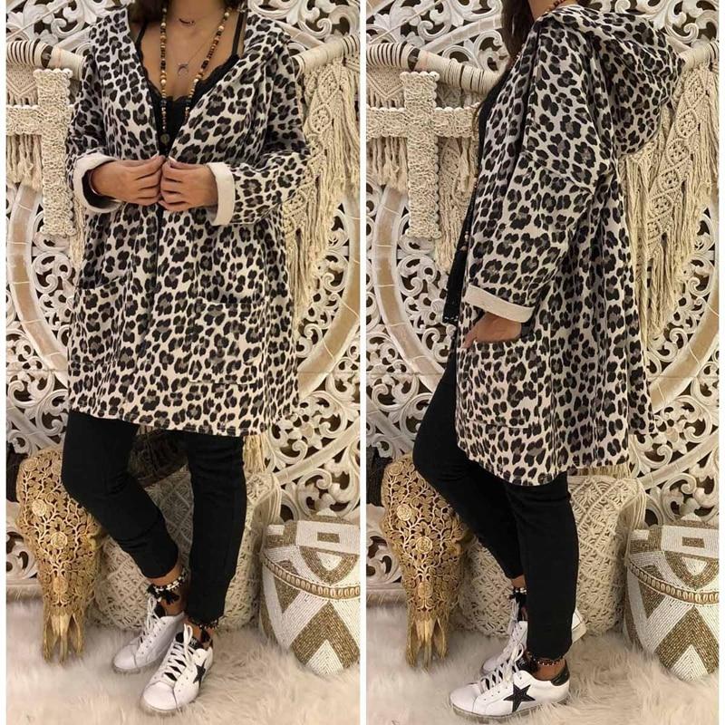 Womens Leopard Hooded Long Coat Front Pocket Long Bat Sleeve Cardigan Loose Outwear Trench