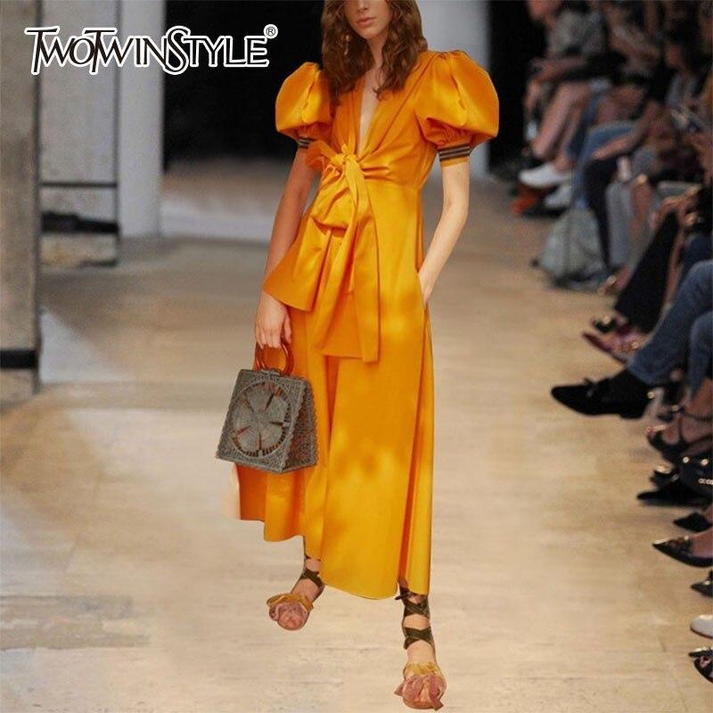 Deuxtwinstyle robe jaune femmes col en V bouffée à manches courtes taille haute Bowknot Maxi robes femme printemps mode 2019 élégant