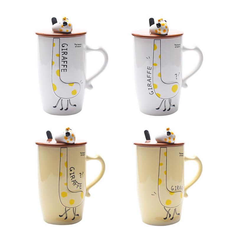 9a54b7e54c8 500Ml Giraffe Mug Office Tea Coffee Cup Ceramic Water Milk Bottle Large  Capacity With Lid Spoon