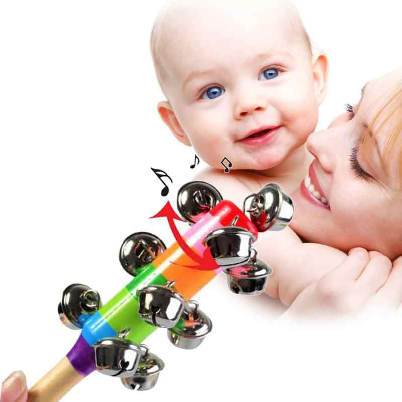 Sound Handbell Toy Rainbow Mommy Baby Rattles Toys Infant Pram Crib Wooden Handle Bell Stick Shaker Toys Kids Newborn New