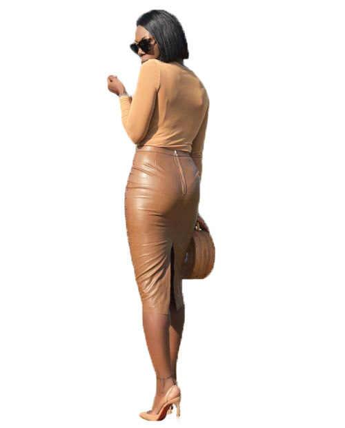 Più il Formato A Vita Alta Che Borda DELL'UNITÀ di elaborazione del Faux Matita di Cuoio del Pannello Esterno Pannello Esterno di Modo Delle Donne Sexy del Randello della Fasciatura del Pannello Esterno Gonne Jupe M-XXL 2019