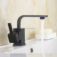 Bathroom Black Faucet Basin Sink Mixer Hot and Cold Single Handle Swivel Rotation Deck Mounted Vessel Sink Taps ZR389
