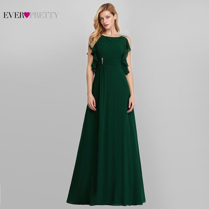 Image 2 - Emerald Green Dresses Ever Pretty EP07891DG Mother Of The Bride Dresses Beaded A Line Sleeveless 2019 Farsali Long Evening Gowns-in Mother of the Bride Dresses from Weddings & Events