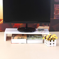 YUNAI Black White Wooden Monitor Stand Computer Monitor Riser Wood Shelf Plinth Desk Organizer Storage Box 500x180x100mm