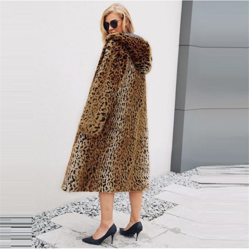 Imprimé Vêtements Capuchon De Long À Fourrure Multi Femmes Automne Style Nouveau Hiver American Populaire Manteau Mode European Léopard 2018 Yqw1zTPx