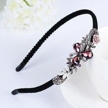 Korean Shining Red Blue Gray Rhinestone Women Headband Flower Crown Butterfly Bow Festival Fantastic Hair Accessories Fascinator