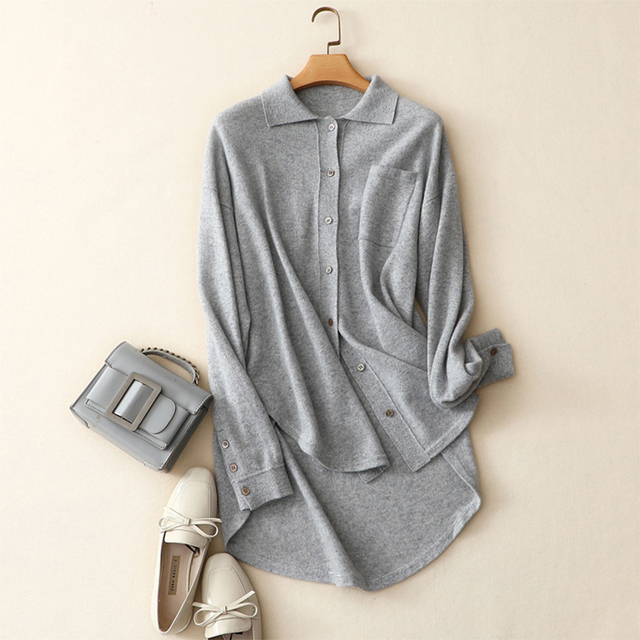 Shuchan Women Winter Cardigan Sweater 2018 100% Cashmere Cardigans Women's Sweater Knitted Long Casual Outerwear Winter