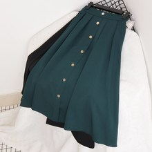 New Arrival Women High Waist Pleated Skirts Female Spring Autumn Button Vintage Suede