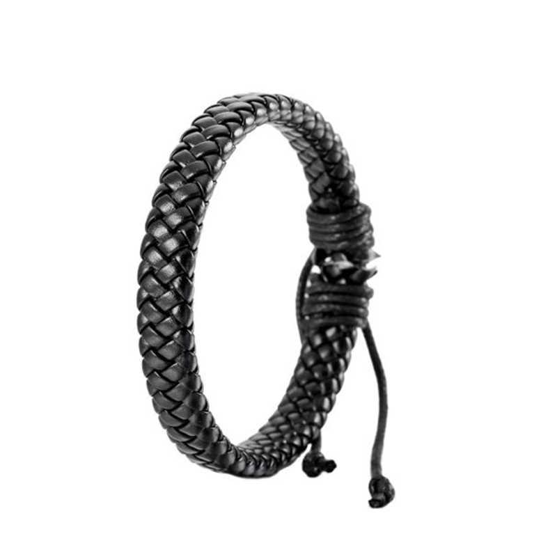 Venta hombres Unisex PU cuero ajustable pulsera brazalete cuerda negro surfista Wrap