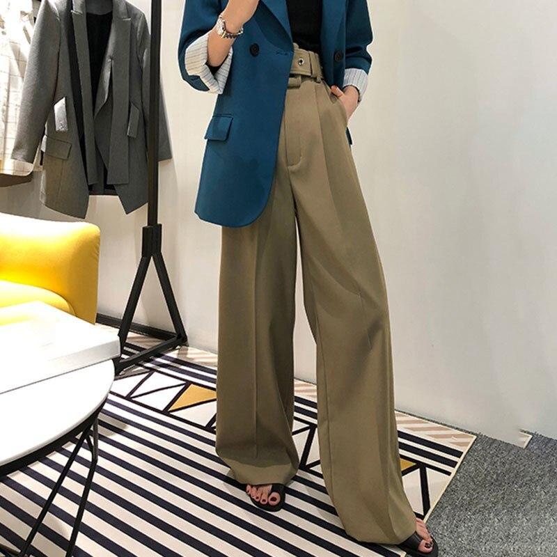 2019 spring korean fashion casual black khaki trousers women high waist bandage wide leg pants. Black Bedroom Furniture Sets. Home Design Ideas