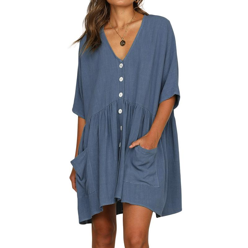 Women Natural Beauty Button Down Dress Pockets Half Sleeves Dresses For Summer Casual Loose Style Breach Clothes