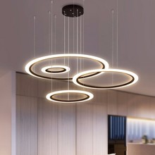 Modern LED Chandelier For Living Room Bedroom Restaurant Light Fixture Black Rings Hanging Lamp Home Lustre With Remote Lighting modern led lustre chandelier hanglamp remote control chandeliers hanging lighting dining room restaurant office light fixture