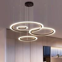 Modern LED Chandelier For Living Room Bedroom Restaurant Light Fixture Black Rings Hanging Lamp Home Lustre With Remote Lighting