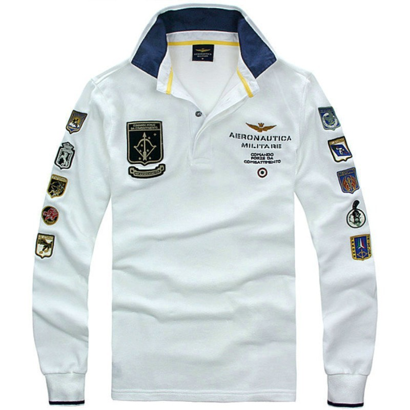 2018 Winter Autumn Eden AERONAUTICA MILITARE Park long sleeve Men   Polos   Air force one man shirt Casual Embroidery shirts male
