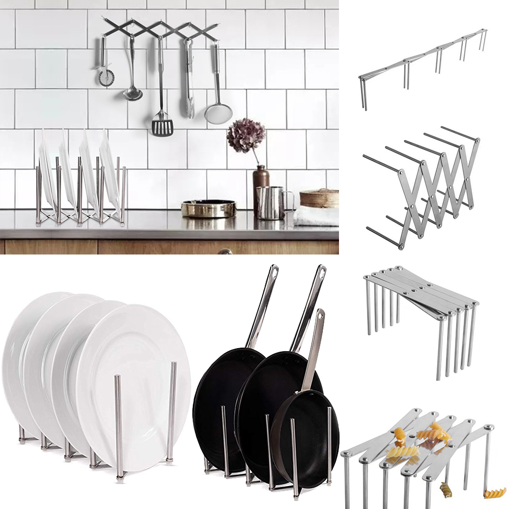 Utensil-Organizer Rack Lid-Plate-Holder Stainless-Steel Adjustable Kitchen 4-Sectional title=