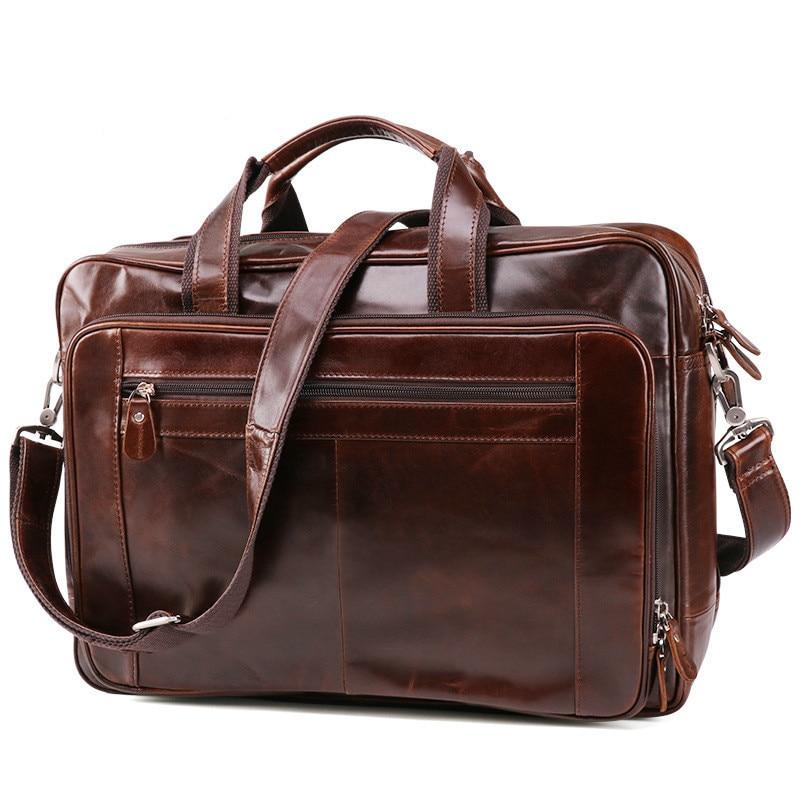 Vintage Leather Briefcase Men Business Bag Tote Handbag Shoulder Bag 66140 Portfolio Genuine Leather Men Briefcase 15