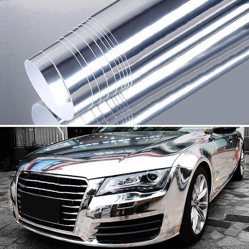 The newest High stretchable mirror silver Chrome Mirror flexible Vinyl Wrap Sheet Roll Film Car Sticker Decal Sheet 58*152cm