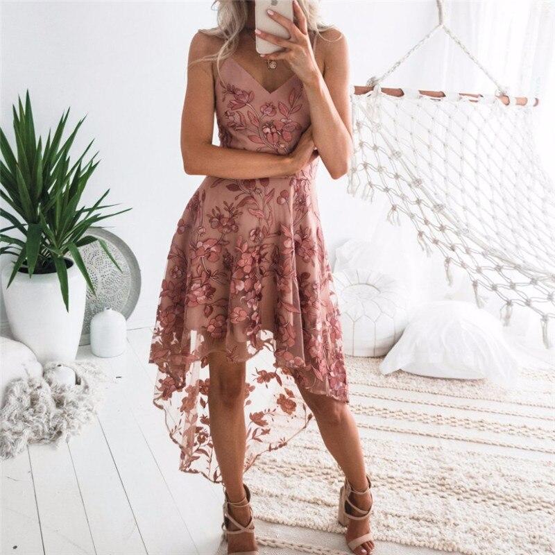 גלימת דה Soiree חדש האופנה קו V צוואר ספגטי רצועות גבוהה נמוכה קוקטייל שמלת 2019 סקסי ללא משענת אפליקציות תחרה מסיבת שמלות